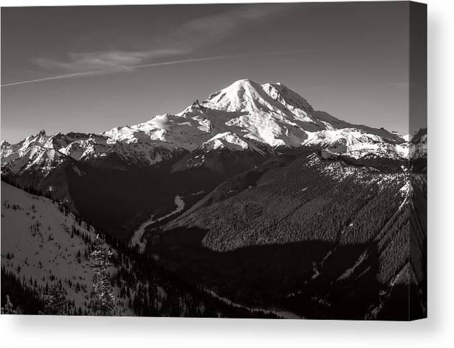 Mt Rainier Canvas Print featuring the photograph Morning Sunrise At Rainier by Ken Stanback