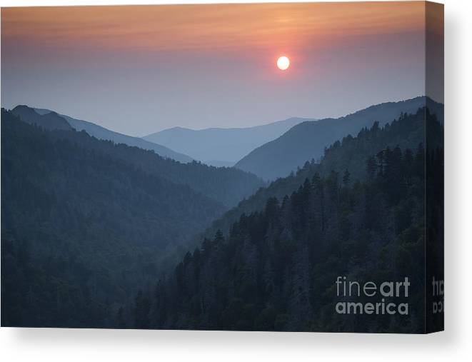 Great Smoky Mountains Canvas Print featuring the photograph Morton Overlook Sunset by Ricky Smith