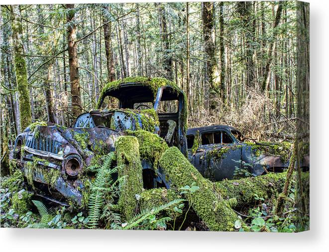 Old Cars Canvas Print featuring the photograph Mother Nature Rules Supreme by Peggy Collins