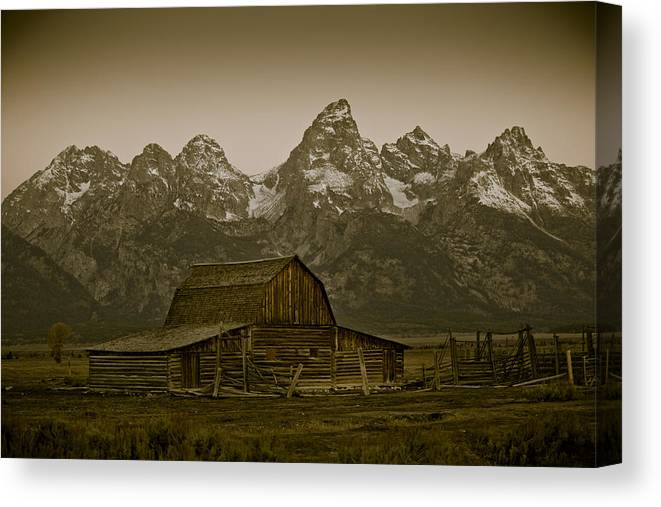 Decor Canvas Print featuring the photograph Moulton Barn And Tetons by Steve Smith