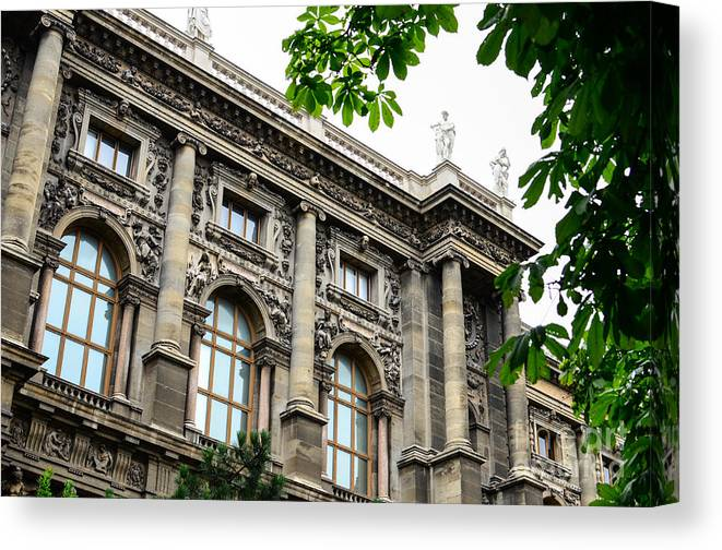 Architecture Canvas Print featuring the photograph National Library In Vienna Austria by Aleksandar Mijatovic