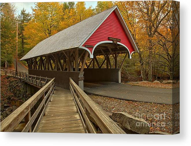 Flume Gorge Covered Bridge Canvas Print featuring the photograph New Hampshire Covered Bridge by Adam Jewell