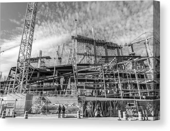 Minneapolis Canvas Print featuring the photograph Minnesota Vikings U S Bank Stadium Under Construction by Jim Hughes