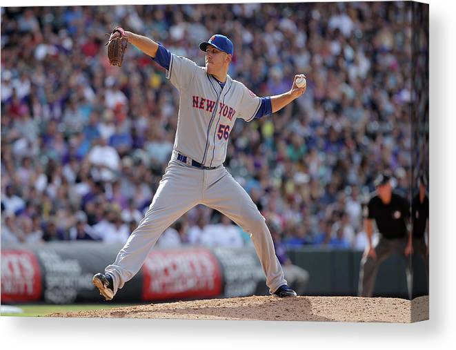 Relief Pitcher Canvas Print featuring the photograph New York Mets V Colorado Rockies by Doug Pensinger