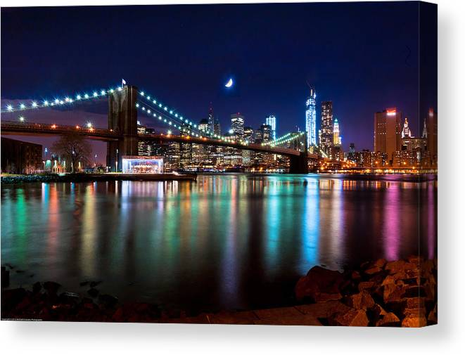 New York Canvas Print featuring the photograph New York Skyline And Brooklyn Bridge With Crescent Moon Rising by Mitchell R Grosky