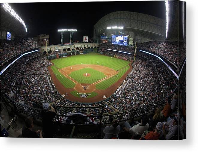 American League Baseball Canvas Print featuring the photograph New York Yankees V Houston Astros by Bob Levey