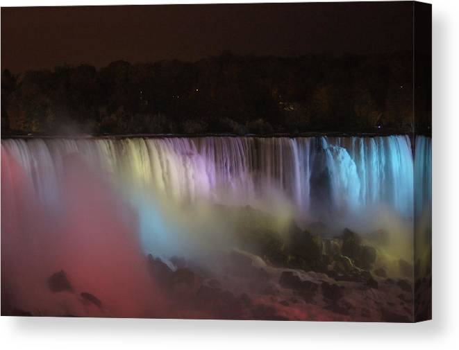 Niagara Canvas Print featuring the photograph Niagara Falls At Night by Erich Kirchubel
