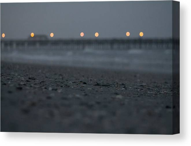 Pier Canvas Print featuring the photograph Night Lights by Jessica Brown