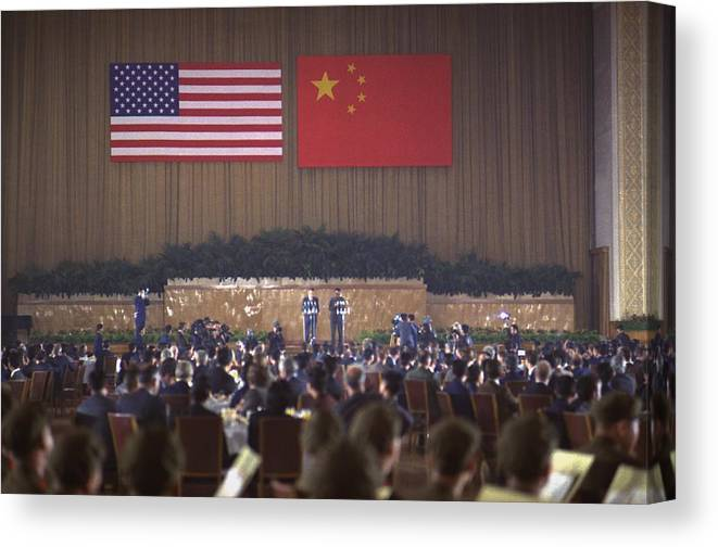 History Canvas Print featuring the photograph Nixon In China. Overview Of The State by Everett