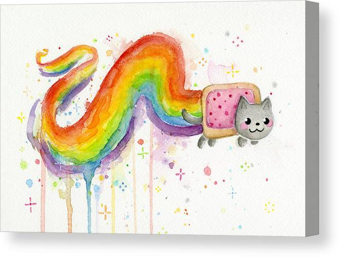 Nyan Canvas Print featuring the painting Nyan Cat Watercolor by Olga Shvartsur