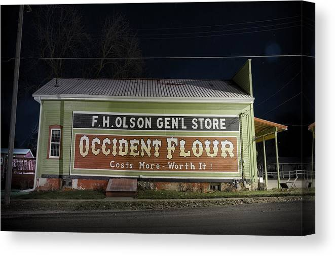 Tom Phelan Canvas Print featuring the photograph Occident Flour Sign by Tom Phelan