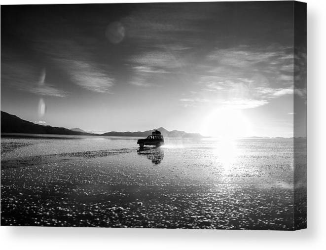 Uyuni Canvas Print featuring the photograph Off Road Uyuni Salt Flat Tour Black And White by For Ninety One Days