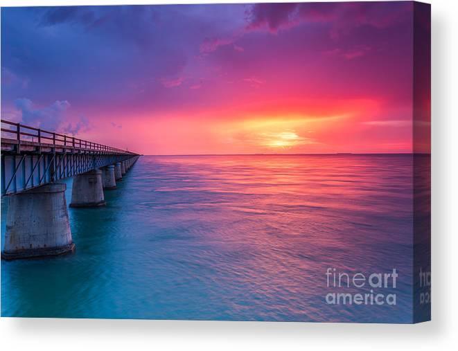 Bahia Honda Canvas Print featuring the photograph Old 7 Mile Bridge Sunset by Hans- Juergen Leschmann