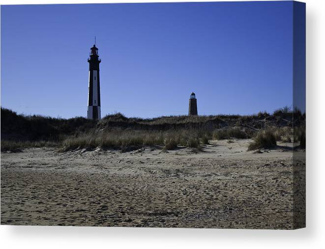 Lighthouse Canvas Print featuring the photograph Old And New Cape Henry Lighthouse by Regina Williams