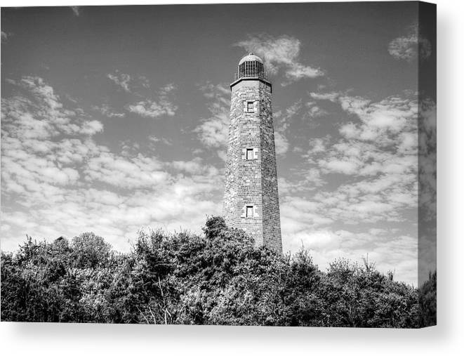 Lighthouse Canvas Print featuring the photograph Old Cape Henry In Black And White by JC Findley