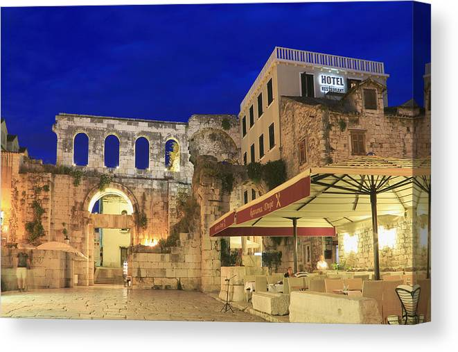 Adriatic Canvas Print featuring the photograph Old Town Of Split At Dusk Croatia by Ivan Pendjakov