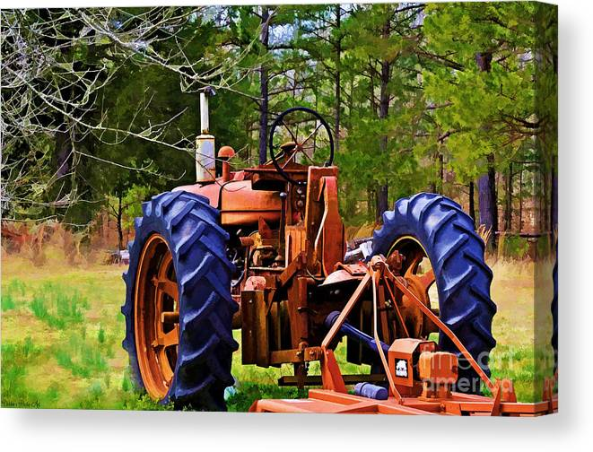 Old Canvas Print featuring the photograph Old Tractor Digital Paint by Debbie Portwood