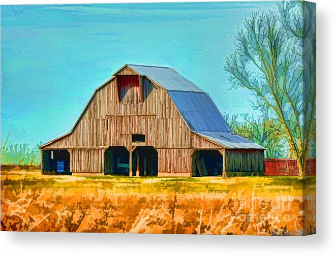 Rustic Canvas Print featuring the photograph Old Wood Barn Digital Paint by Debbie Portwood