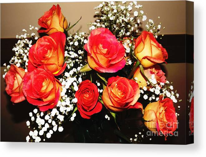 Orange Roses Canvas Print featuring the photograph Orange Apricot Roses With Oil Painting Effect by Rose Santuci-Sofranko