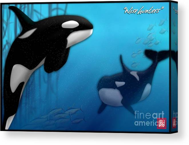 Killer Whales Canvas Print featuring the digital art Orca Killer Whales by John Wills