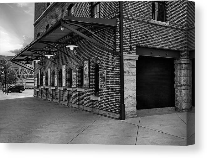 Baltimore Canvas Print featuring the photograph Oriole Park Box Office Bw by Susan Candelario