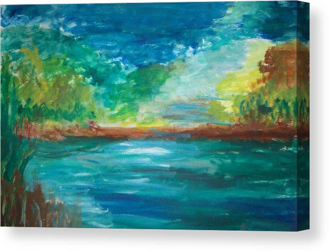 Canvas Print featuring the painting Out At The Lake by Clyde Stewart