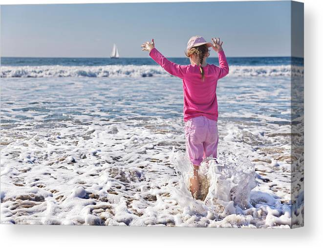 Beach Canvas Print featuring the photograph Paddling In The Ocean by Jo Ann Snover