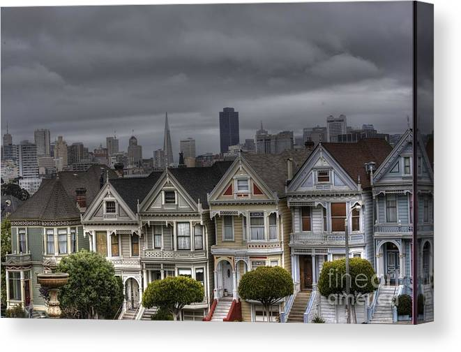 San Francisco Canvas Print featuring the photograph Painted Ladies Ready For The Rain by David Bearden