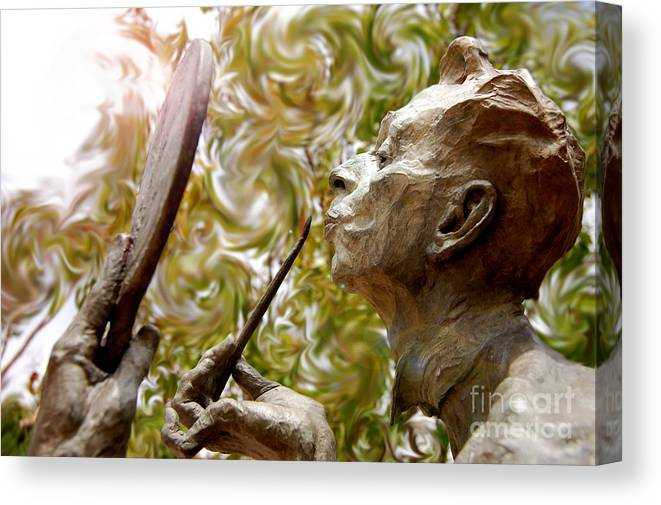 Sculpture Canvas Print featuring the photograph Painted Lips by Andrea Aycock