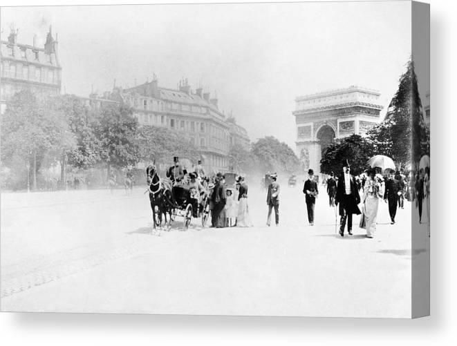 1890 Canvas Print featuring the photograph Paris Avenue Foch, C1895 by Granger