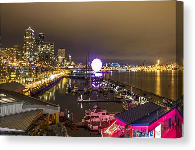 Seattle Canvas Print featuring the photograph Party Night 2 by Calazone's Flics