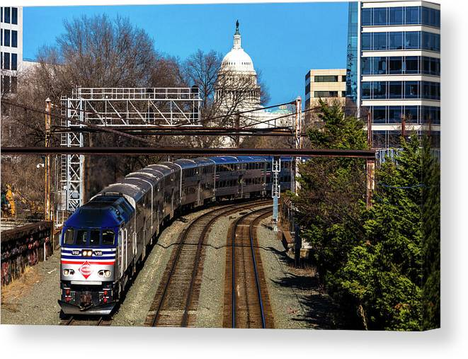 Photography Canvas Print featuring the photograph Passenger Metro Train With Us Capitol by Panoramic Images