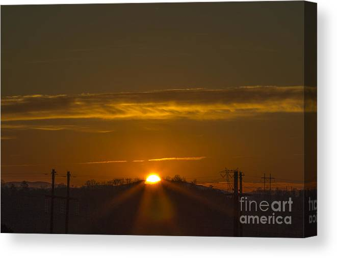 Country Sunrise Canvas Print featuring the photograph Peek-a-boo by Michael Waters