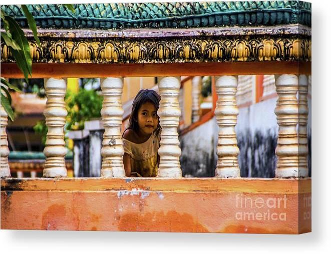 Cambodia Canvas Print featuring the photograph Peek-a-boo by Roberta Bragan