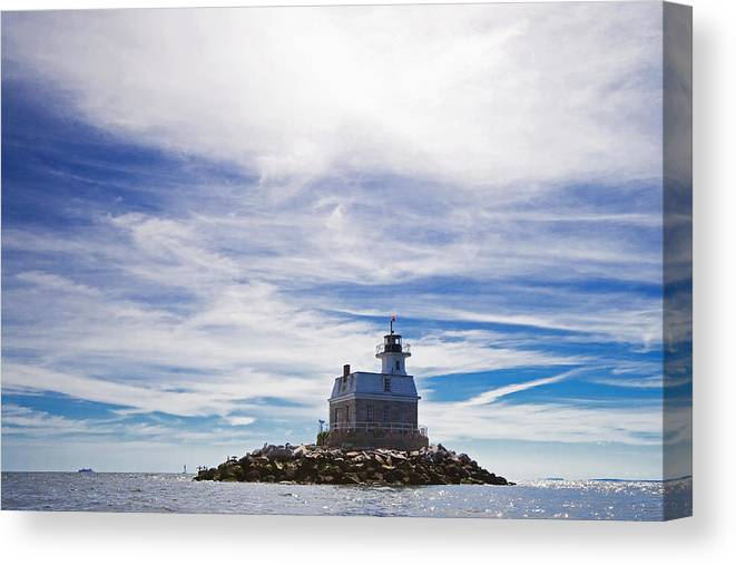 Lighthouse Canvas Print featuring the photograph Penfield Reef Lighthouse Fairfield Connecticut by Stephanie McDowell
