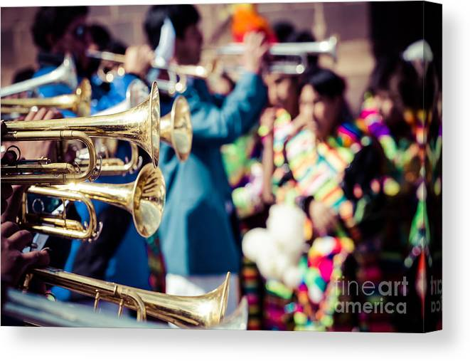 Peru Canvas Print featuring the photograph Peruvian Dancers At The Parade In Cusco by Mariusz Prusaczyk