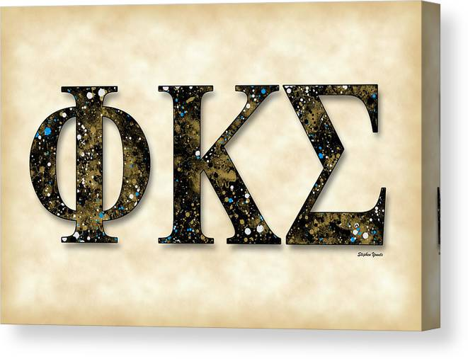Phi Kappa Sigma Canvas Print featuring the digital art Phi Kappa Sigma - Parchment by Stephen Younts