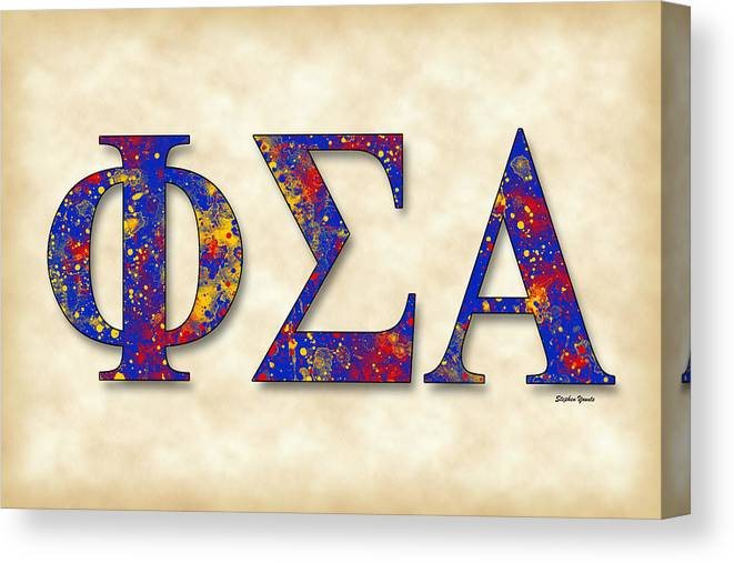Phi Sigma Alpha Canvas Print featuring the digital art Phi Sigma Alpha - Parchment by Stephen Younts