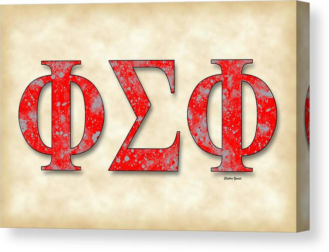 Phi Sigma Phi Canvas Print featuring the digital art Phi Sigma Phi - Parchment by Stephen Younts