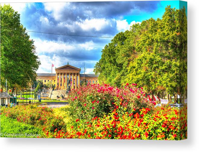 Philadelphia Canvas Print featuring the photograph Philadelphia Art Museum 5 by Constantin Raducan