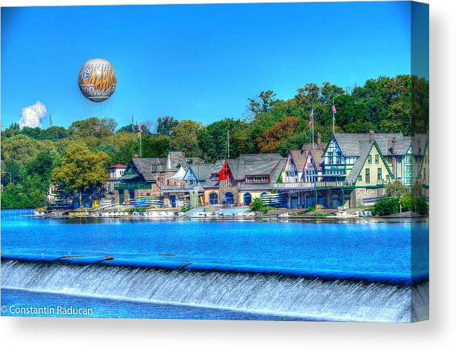 Philadelphia Canvas Print featuring the photograph Philadelphia Boat House Row And Zoo Balloon by Constantin Raducan