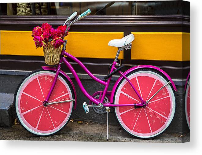 Pink Canvas Print featuring the photograph Pink Bike by Garry Gay