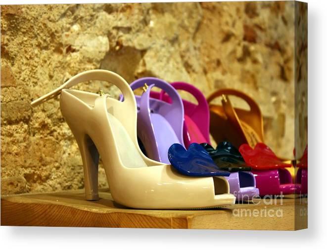 Shoes Canvas Print featuring the photograph Plastic Chic by Sophie Vigneault