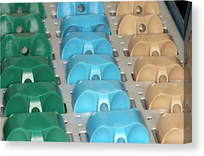 Implant Canvas Print featuring the photograph Plastic Components Of Artificial Knees by Dr P. Marazzi/science Photo Library