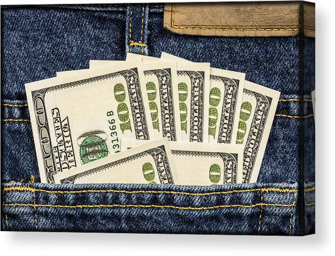 Pocket Canvas Print featuring the photograph Pocketful Of Money E80 by Wendell Franks