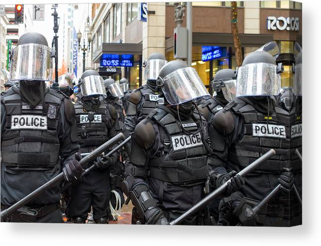 Portland Canvas Print featuring the photograph Portland Police In Riot Gear by Jit Lim