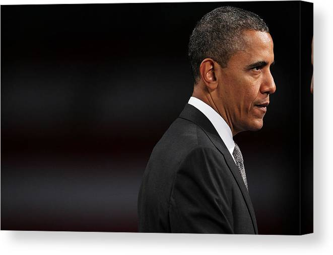 People Canvas Print featuring the photograph President Obama Speaks On The Economy by Spencer Platt