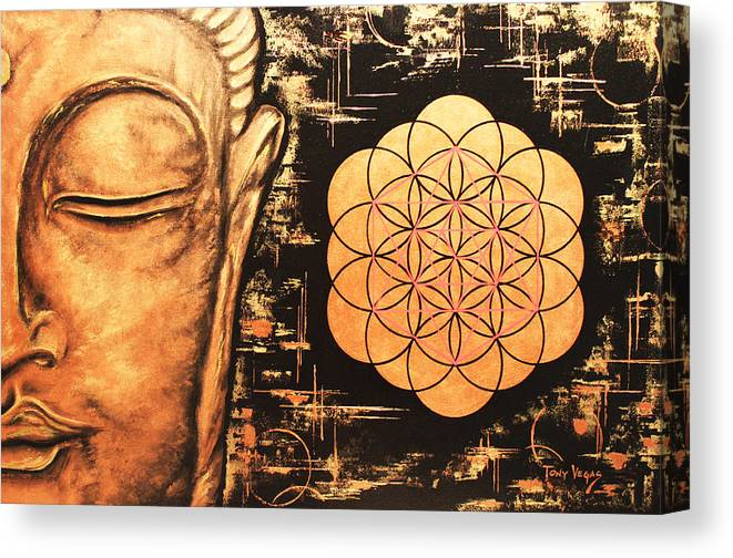 Buddha Canvas Print featuring the painting Pursuit Of Eternity by Tony Vegas