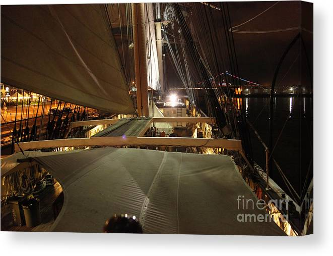 Tall Ships Canvas Print featuring the photograph Quiet Night On The Star by Fiona Young