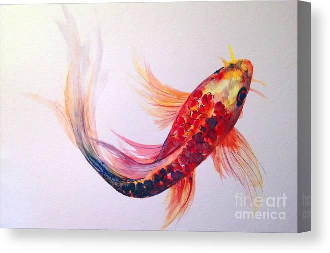 Koi Canvas Print featuring the painting Rainbow Koi by Lauren Heller